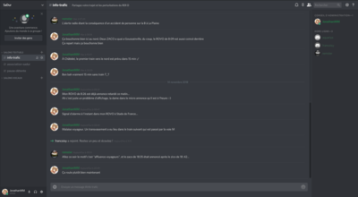 Interface sur ordinateur de Discord