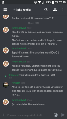 Interface mobile de discord